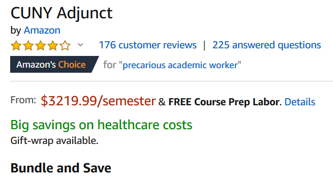 A parody Amazon page selling CUNY adjuncts